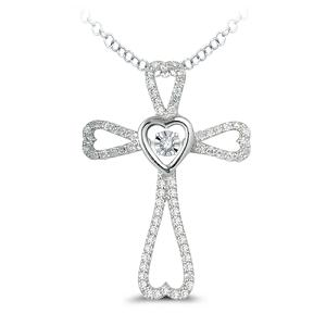 10K White Gold 2/5 Ct.tw.Diamond Cross Pendant