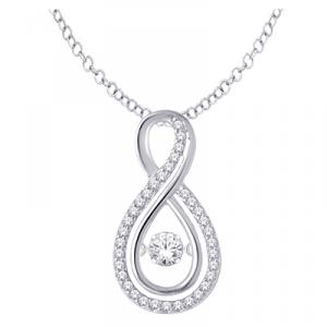 14K White Gold 1/3 Ct.tw.Diamond Fashion Pendant With matching 18 inch Chain