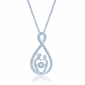 Silver 1/20 Ct.tw. Diamond Heart Pendant With Matching Silver Chain.