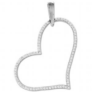 14K 0.26CT DIAMOND PENDANT.This romantic and trending Heart-Shaped Diamond Pendant is gorgeously rendered in 14k white gold and studded with sparkling icy white diamonds. It dangles beautifully from a white gold  chain. Heart is a symbol of love and joy. A classical and charming Heart Diamond Pendant is the best jewelry for all occasions and outfits.