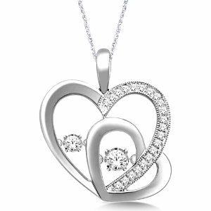 10K White Gold 0.25 c.t.w Diamond Heart Pendant with White Gold Chain.