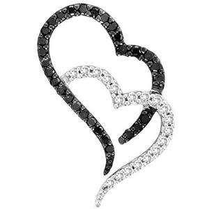 10K 0.32CT DIAMOND PENDANT.Here is an adorable sparkling black and white double heart pendant. Pendant comes with 18