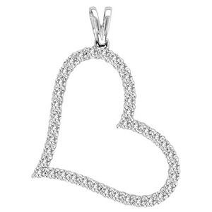 Shimmering diamond of 1.00 ct. tw, this heart pendant is made from 10 karat white gold. A beautiful and affordable romantic treat, it comes complete with an 18-inch box chain.