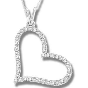 10K 0.50CT DIAMOND PENDANT. Shimmering diamond of 0.50ct. tw, this heart pendant is made from 10 karat white gold. A beautiful and affordable romantic treat, it comes complete with an 18-inch box chain.