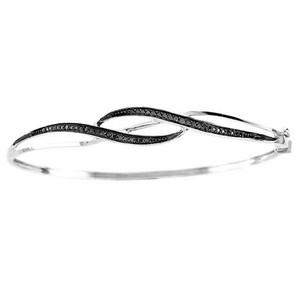 10K 0.24CT DIAMOND BANGLE.This dazzling diamond item is set in Pure 10k White Gold. This Black Diamond Cross Over  Bangle Bracelet and White Gold has total sparkling diamond of  0.24 ct.
