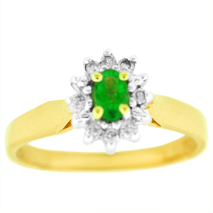 Oval Shape Emerald and Diamond Ring: This emerald and diamond ring has a 5x3 oval shape genuine emerald surrounded by 1/10 carat total weight diamonds. Stones are set in 10 Karat Yellow Gold.