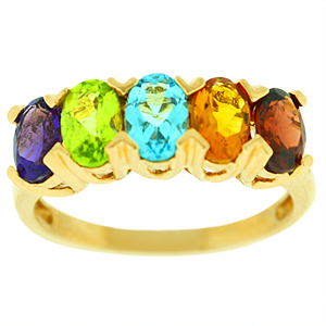 Multi-Gemstone Ring with 5x7 Oval shape Genuine Garnet, Citrine, Blue Topaz, Amethyst and Peridot set in 14 Karat yellow gold.