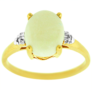 Opal Ring with Diamond accents. Ring has a 10x8mm Oval shape Opal with Diamond accents, set in 14 Karat yellow gold.