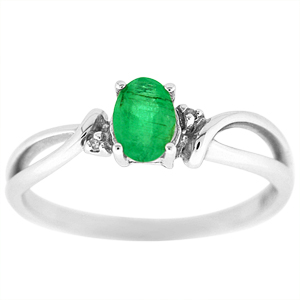 This emerald ring has a 6x4 oval shape genuine emerald. Stones are set in 10 Karat White Gold. Nice gift for any occasion. Emerald is also a birthstone for the month of May.