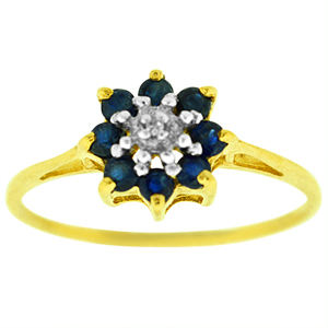 Sapphire Ring: This Sapphire cluster ring has multiple round sapphires with diamond accent. Sapphires are set in 10 karat yellow gold ring.