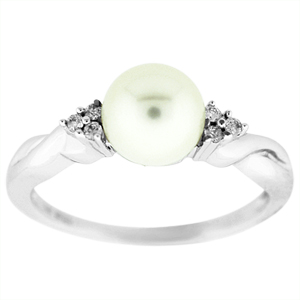 Pearl Ring with Diamonds: This pearl ring has a 7mm pearl with 0.05 carat total weight of diamonds. Pearl and Diamonds are set in a 14 karat white gold ring. 
