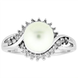 Pearl and Diamond Ring: This pearl ring has a 7mm pearl that is surrounded by 0.23 carat total weight of diamonds. Pearl and Diamonds are set in 14 Karat white gold.