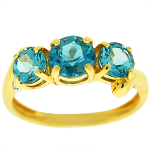 Three stone Blue Topaz Ring: This bold Blue Topaz ring with diamond accents. Ring has a center round Blue Topaz of 6mm and two side Blue Topaz of 5mm each. Stones are set in 14 karat yellow gold ring. Perfect gift for any occasion. Three stones represents past present and future. Blue Topaz is also birthstone for December. Style#300158