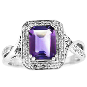 Genuine Amethyst and Diamond Ring with 8x6mm Emerald cut Amethyst with 0.15 Carat Total Weight Diamonds set in 14 Karat White Gold Ring.