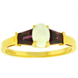 Opal ring with Rhodolite: This beautiful Opal and Rhodolite ring has a 6x4 oval shape Opal and 2 baguette shape Rhodolites. Stones are set in 10 Karat yellow gold. Opal is also the birthstone for the month of October.