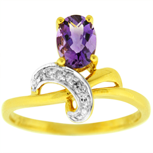 Amethyst Ring: This Amethyst ring has a 7x5 oval shape Amethyst with diamond accents on the side. Stones are set in 14 karat yellow gold. Amethyst is also birthstone for the month of February.