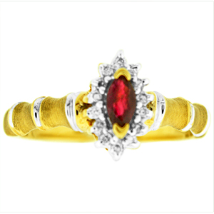 Ruby Ring with Diamonds: This ruby ring has a 5x3 marquise shape genuine ruby surrounded by diamonds. Ruby and diamonds are set in 10 karat yellow gold. Ruby is also birthstone for the month of July.