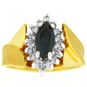 Sapphire Ring with Diamonds: This sapphire ring has a 6x4 marquise shape genuine sapphire surrounded by diamonds. Diamonds has a total carat weight of 0.20 carat. Sapphire and Diamonds are set in 14 karat yellow gold. Sapphire is also a birthstone for the month of September.