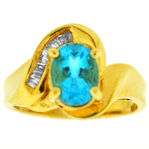 Blue Topaz Ring with Diamonds: This blue topaz ring with diamonds has a 8x6 oval shape blue topaz with baguette shape diamonds on side. Diamonds and blue topaz are set in 10 karat yellow gold. Blue Topaz is also the birthstone for December.