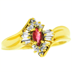 Created Ruby and Genuine Diamond Ring with 6x3mm Marquise shape created Ruby and 1/5 Carat Total Weight Genuine Diamonds set in 14 Karat Yellow Gold.