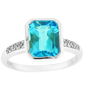 Genuine Blue Topaz and Diamond Ring. Ring has a 10x8mm Emerald cut Blue Topaz with Diamond accents set in 10 Karat White Gold.