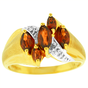 Genuine Garnet Ring with 5 Marquise shape Garnets and Diamond accents set in 10 Karat Yellow Gold.