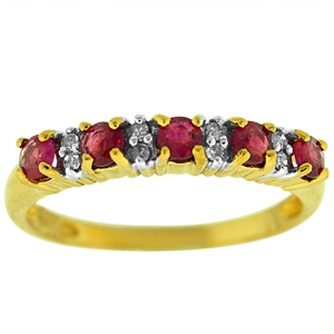 Genuine Ruby and Diamond Band with 5 Genuine 3mm Rubies and Diamonds set in 14 Karat Yellow Gold.