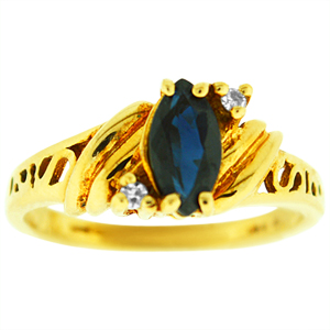 Marquise shape genuine Sapphire Ring. Ring has 8x4 Marquise shape Sapphire with two diamonds. Sapphire and diamonds are set in 10 karat yellow gold. Sapphire is also birthstone for the month of September. Ring makes a nice gift for any occasion.