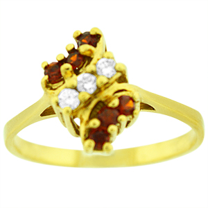 This beautiful genuine ruby ring has six Round shape Garnet that are separated in 14 Karat yellow gold with three diamonds in middle . Nice gift for any occasion.
