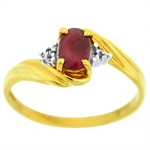 This cute and simple Ruby Ring has a 6x4 Oval Ruby and two round Diamonds on the side. Ring is made of 10 Karat Yellow Gold.