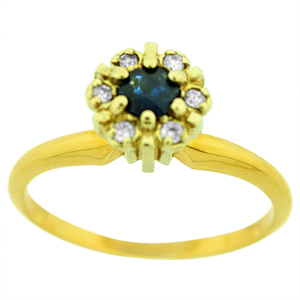 Sapphire Ring: This Sapphire ring has a single 4mm round sapphire  with diamond surrounding it. Sapphires are set in 14 karat yellow gold ring. Nice gift for any occasion. Sapphire is also birthstone for September. Style#300211