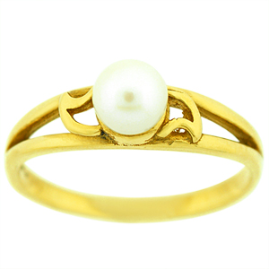 This elegant Pearl Ring has a 5MM Pearl. Pearl is set in 10 Karat Yellow Gold.