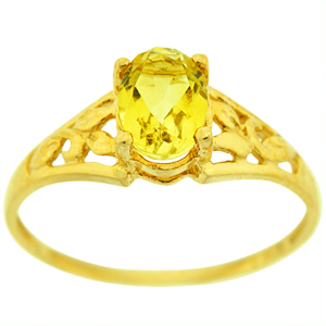 Citrine is a birthstone for the month of November. This ring has a 7x5 mm Citrine, which is complimented by the beautiful work on the shank.