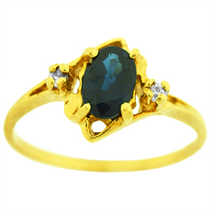 Oval shape genuine Sapphire Ring. Ring has 6x4mm Oval shape Sapphire with two diamonds. Sapphire and diamonds are set in 14 karat yellow gold. Sapphire is also birthstone for the month of September. Ring makes a nice gift for any occasion.