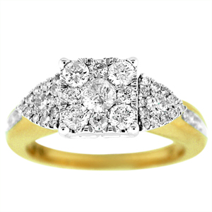 Diamond Engagement Ring with 1.0 Carat Diamonds. Ring has  sparkling multi stone diamonds in the center.Diamonds are set in 14 Karat Yellow Gold.