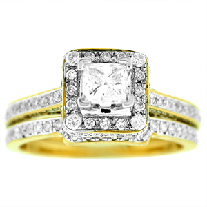 This best seller diamond bridal set has a beautiful diamond engagement ring and diamond wedding ring. Engagement ring has 0.45 princess cut diamond center surrounded by 0.80 carat total weight of round brilliant cut diamonds including the wedding band. All set in 14 karat yellow gold. Bridal set has a diamond total weight of 1.25 Carat.