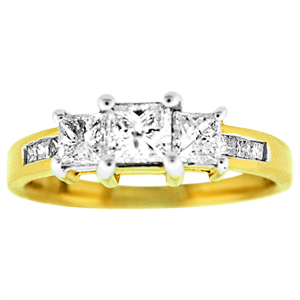 This elegant diamond engagement ring has beautiful, shinning diamonds with total carat weight of 1.0 carat diamonds.  Engagement ring has princess cut center diamond that weighs 0.40 Carat with channel set princess cut diamonds on the shank and two princess cut side diamonds. Diamond engagement ring is set in high polished 14 karat yellow gold.  Perfect as engagement ring, Anniversary ring , Three stone past-present-future ring.