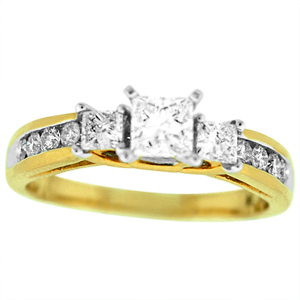 This beautiful diamond Engagement ring has carat total weight of 0.75 carat sparkling princess and round brilliant cut diamonds. Diamond engagement ring is set in 14 karat yellow gold.  It's an excellent choice for engagement ring, Past-present-future,anniversary ring or any other special occasion ring.