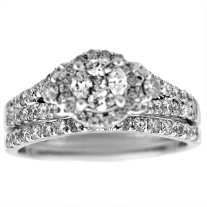 This unique and beautiful white gold diamond bridal set has shining diamond engagement ring and diamond wedding ring. Engagement ring has a unique cluster center of Four Marquise shape diamonds and round stones surrounding it.  Bridal set has diamond carat total weight of 1.0 carats including the wedding band.  Diamond bridal duo is set in 14 karat white gold setting.