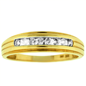 This beautiful gents diamond wedding has 8 sparkling round diamonds. Diamond are channel set in 10 karat yellow gold setting.