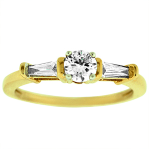 This elegant diamond engagement ring has a 1/3 Carat brilliant cut center and two tapered shape baguette diamond on the side. Ring is set in 14 Karat high polished yellow gold setting. Diamonds are sparkling and white.