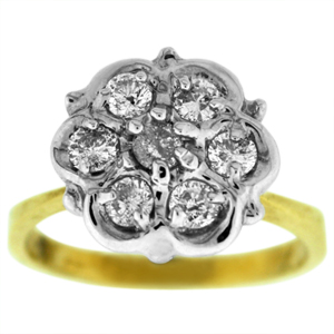 Diamond fashion ring with 0.35 Carat total weight round  diamonds. Diamonds are set in 10 karat yellow gold. Fashion rings are also called dinner rings, cocktail rings or diamond cluster rings.