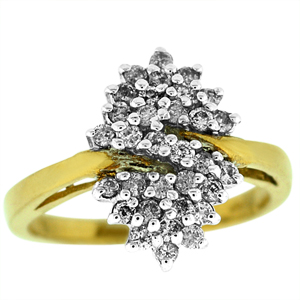 Diamond fashion ring with 1/2 Carat total weight round  diamonds. Diamonds are set in 10 karat yellow gold. Fashion rings are also called dinner rings, cocktail rings or diamond cluster rings.