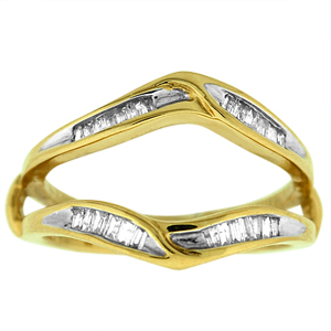 Diamond ring guard, also called ring wrap, with 1/4 Carat total weight sparkling baguette diamonds. Diamonds in this ring guard are set in 10 karat yellow gold. Ring also makes a good wedding ring or solitaire enhancer or solitaire insert.