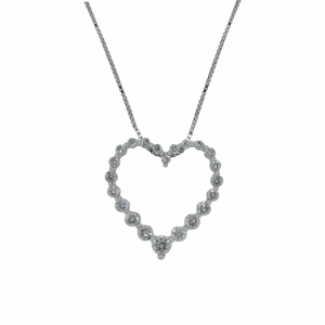 Half Carat Total Weight Diamond Heart Pendant set in 14 Karat White Gold with 18