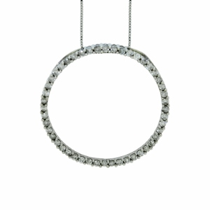 Diamond Circle Pendant with 1 carat total diamonds set in 10 karat white gold chain with 18