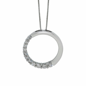 Diamond Circle Pendant with 1/2 carat total weight diamonds set in 14 karat white gold with 18