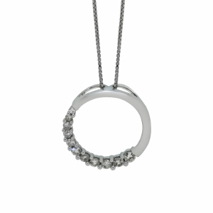 Journey Circle Pendant with 1/5 carat total weight diamonds set in 14 karat white gold with 18