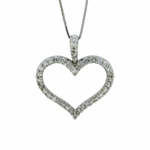 This beautiful diamond heart pendant has 1/2 carat total weight of diamonds. Diamonds are set in 14 karat white gold. Pendant comes with an 18