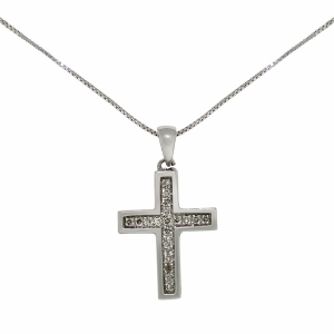 Diamond Cross Pendant with 1/10 Carat Total Diamond Weight - Channel Set in high polished 10 Karat White Gold - Diamond cross pendant necklace has an 18
